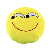 Wholesale Soft Emoji Cute Smile Emoticon Yellow Round Cushion Pillow Stuffed Plush Toy Doll Christmas Present