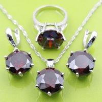 arrival zirconia - New Arrival Silver Jewelry Sets For Women Red Garnet Earrings Pendant Necklace Rings Free Jewelry Box