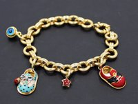 baby bp - AARON BASHA K Yellow Gold Diamond Enamel Baby Shoe Charm Open Link Bracelet BP