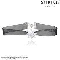 Wholesale Punk Style Black Bud String Necklace Rhodium Color Bling White Zirconia Charm Chain Lobster Clasp body Jewelry from Xuping