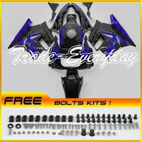 Cheap ABS Fairing Kit Fit CBR600 F2 1991-1994 CBR 600 91-94 Blue Flames Black 21N03