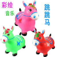 Wholesale free shippChildren inflatable horse jumping horse inflatable toys children s music and dance jumping red deer red deer increased thickening