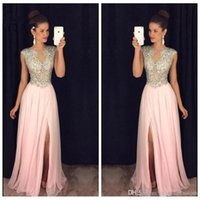 amazing art images - Custom Amazing Vogue O Neck Bling Bling Crystal Beading Chiffon Evening Prom Dresses High Split Custom Special Occasion Party Gowns