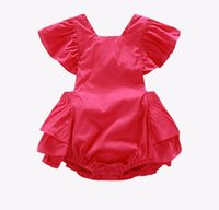 Summer baby ruffle onesie - 2016 INS hot baby girl infant toddler lace tutu layers cake hollow romper onesie diaper covers bloomers Ruffles Lace Big bowknot