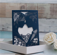 Wholesale Sweethearts Head Laser Cut Wedding Invitations Pocket Hollow Out Groom Bride Elegant Invitation Cards with Envelope Free Print