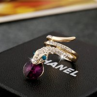 Wholesale Personalized Crystal Ring Snake Shape Color optional Made of Alloy for Women Fashion Christmas Gift2016 New