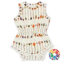 baby girl snaps - Arrow Printed Baby Jumpsuit Sleeveless One Piece Jumpsuit With Snaps Baby Girls Cotton Romper On Sale