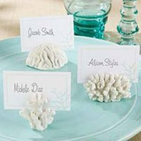 beach theme place cards - Seas Coral Beach Theme Place Card Holders Wedding Favors