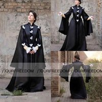 art deco costumes - Cosplay Halloween Costumes Evening Dresses For Women Black Withch Princess Dress Disfraces Christmas Long Sleeve adult Occasion Dresses