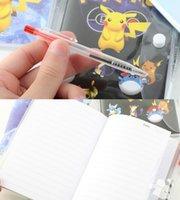 Wholesale Lovely Size Cartoon Notebooks Poke Pikachu Notebooks With A Ballpoint Pen Diary Planner Poke Stationery School Office Supply B0548