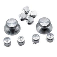 Wholesale Aluminum Metal Bullet ABXY Button Thumb Sticks Grips Chrome D pad for PS4 DualShock Controller Mod Kit Replacement Buttons