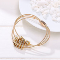 bar magnet sale - Hot Sale Leather Silver and Gold Plated Bracelets For Women Magnet Bangle Crystal Charm Jewelry BG072