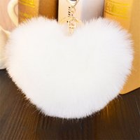Wholesale 12cm Rabbit Fur Heart Shape Ball PomPom Charm Car Keychain Handbag Pendant Key Rings Llaveros Mujer Chaveiro Carro