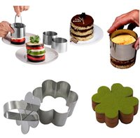 Wholesale New styles Stainless Steel Mousse Cake Ring Mold Cupcake Mould DIY Baking Tools Heart Round Flower Shape