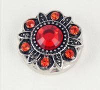 ancient flower bracelets - 10pcs MM Noosa Chunks Button Ancient Color Diamond Flower Necklace Button Snap Metal Button DIY Personality Charm Bracelets Accessories
