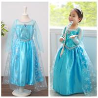 Cheap Kids Frozen Elsa Dresses Princess Costumes Dress Party Halloween Fancy Dress Saints'Day Frozen Dance Dress Cosplay Birthday Gift Dress D182