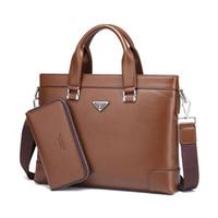 Genuine Leather degli uomini Cartella Borse Business Casual una spalla Laplop Messenger Bag