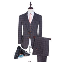 Wholesale 2017 High Quality Herringbone Wool Suits Plaid Men suits Tailored Suit Blazer Suits For Men pieces Jacket Pants Vest
