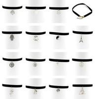 Wholesale 17 Style Mix s Women Black Velvet Choker Pendants Necklace Gothic Handmade Retro Burlesque Jewelry b048