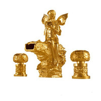 Wholesale PVD GOLD finish ROMAN lovely girl tub faucet flowers fairy girl mixer tap