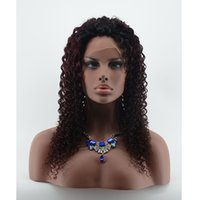 Cheap 7A Lace Front Brazilian Wig Kinky Curly Wig For Women 1B 99J Two Tone Ombre Wigs Full Lace Kinky Curly Human Hair