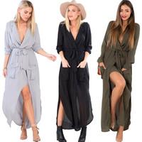Wholesale Womens Split Maxi Long Dress Shirt Evening Party Wrap Dress Casual V Neck Full Length Chiffon