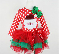 Wholesale New Christmas Girls Childrens tutu Dress Xmas Ball Gown Gils Kids Skirts prom Dresses Santa Lace Bubble Skirt for Girls