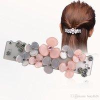 acrylic ornaments - Barrettes Promotion Ornament petal Rhinestone hair barrette clips delicate acrylic hair pins fashion jewelry women accessories