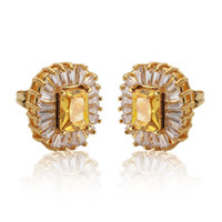 Wholesale Yellow Gold Plated Square Cut Yellow Topaz Cubic Zircon Stud Earrings for Women Party Earrings