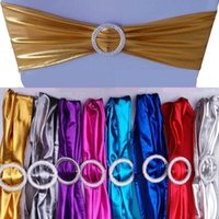 Wholesale Wedding Decoration Chair Covers Sashes spandex Bands with buckles Elastic shiny Chair Sash Cover Band for Banquet Party Event new