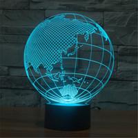 asia c - 3D Globe LED Home Decorative Bedside Desk Lamp USB World Map Europe Asia America VR Projection Christmas Nightlight D TD27 C