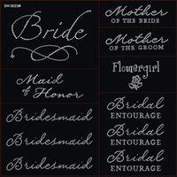 Wholesale Jubilee Wedding Pack Pc Bride Iron on Rhinestone Crystal T shirt Transfers By Jubilee Rhinestones DIY DH0023