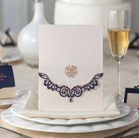 Wholesale 100pcs Vertical Classic Style Engagement Wedding Invitations Cards Custom With Rhinestone Blue Laser Cut Flower