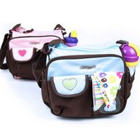 Wholesale Mummy Bag Multi functional Messenger Bag Flower Print Durable Pregnant Women Baby Diaper Bags Cheap Nappy Bag Blue Pink Cover