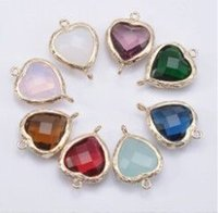 Wholesale Mix Color mm Heart Glass Charms For Necklace Pendant Bezel Facted Imatition Zirconia Pendant Connector