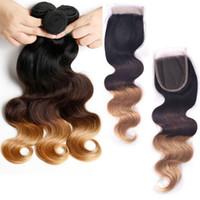 Cheap Hot Lady Hair Brazilian Human Hair Body Wave 3Pcs Bundles With Closure Ombre Brazilian Human Hair Weave With Lace Closure 1B 4 27