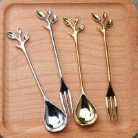 Wholesale 2pcs European retro tea coffee spoon stirrer fruit fork Dessert spoon tableware Dinerware sets kitchen accessories
