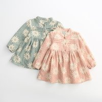 Wholesale baby girl dress fall cotton print kids dresses Long sleeve girls clothes elegant cute kids clothing y