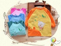 Wholesale waterproof baby feeding overclothes children smock long sleeve painting eating drinking playing apron many colors option pc