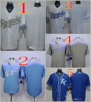 Wholesale 2016 Majestic Official Cool Base MLB Stitched KC Kansas City Royals Blank White BLue Gray Gold Jerseys Do drop shipping Mix Order