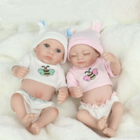 "Cheap Wholesale-New baby silicone reborn dolls  Fashion reborn babies dolls lifelike 11"" Silicone Vinyl boy and girl doll 100% handmade"