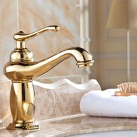 Wholesale Auswind Gold Brass Faucets Bathroom polished Faucet Sink Basin Mixer Tap