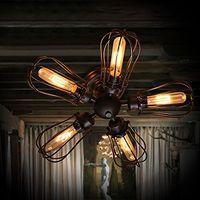 antique ceiling lamp - Vintage Barn Metal Semi Flush Mount Light Black Iron Loft Antique Industrial Lamp Edison Bulb T45 Retro Ceiling Light Grapefruit Wall Lamp