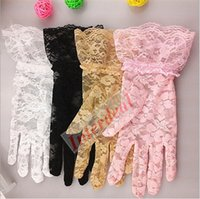Cheap Women Wedding Bridal Gloves Lace Bride Tulle Flowers Gloves Short Ruffles Mittens Outdoor Car Drive Sun Protection Gloves Hand Wear B228 50