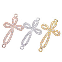 Wholesale 18K Gold Cross Shape CZ Connector Micro Pave Jewelry Fitting for Necklace and Bracelet