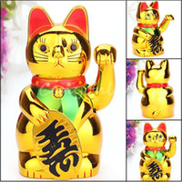 Wholesale Fashion Chinese Lucky Wealth Electric Waving Cat Beckoning Maneki Golden Powered by AA Battery Feng Shui Lucky Cat Plastic Craft