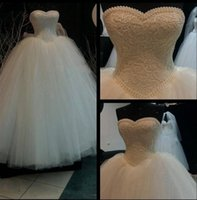 Wholesale Luxury Ball Gown Bandage Wedding Dress Sweetheart Strapless Neckline Lace Pearls Sequins Bridal Wedding Gown