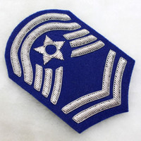 air force ribbons - 2016 Special Offer Embroidered d None Fallout Badge Gear Solid The Air Force Sergeant Spot New Silver Blue Armband x7cm