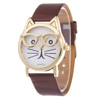 animal brand watches - BIG Discount Feminino femme Cute Glasses Cat Quartz Dial Wrist Ladies Watches Women Gift Fashion Brand