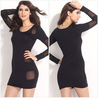 beaded cross stitch - High grade Fashionable tight fitting long sleeved black stitching package hip nightclub sexy prom dresses DFMD457 Cocktail Dresses for wowen
